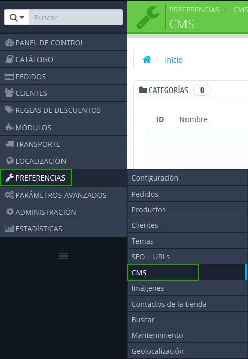 Crear CMS en Prestashop 1.6