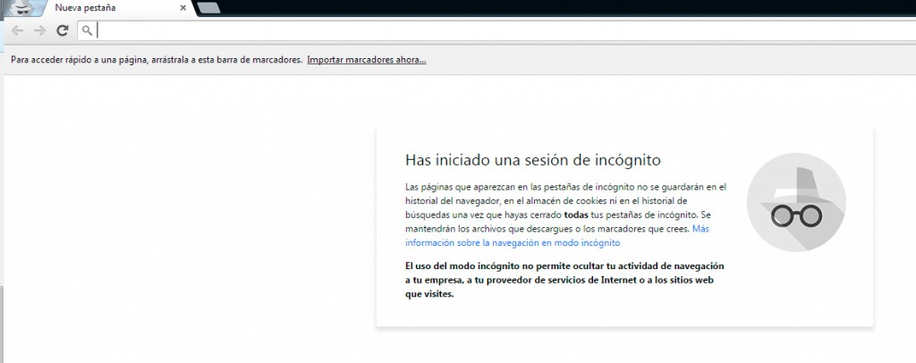 Navegación privada en Google Chrome