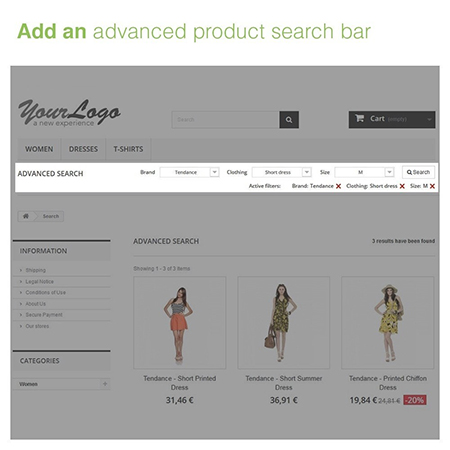 Advanced Product Search Bar with 3 Filters Module