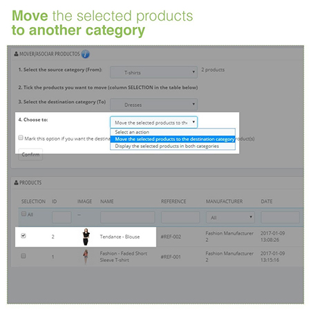 Moving and Assigning Products between Categories Module