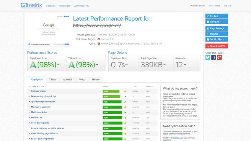comprobar velocidad de mi web gtmetrix