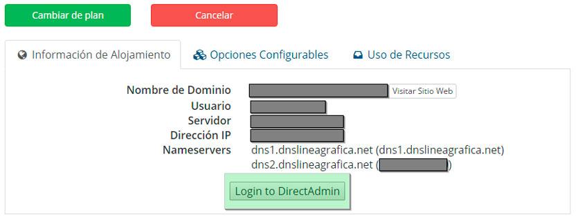 Acceder a DirecAdmin