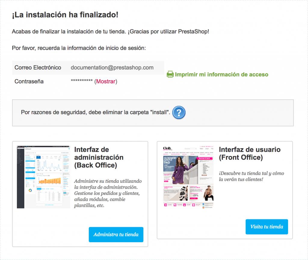 Finalizar instalación de PrestaShop 1.7