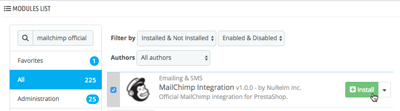 Módulo MailChimp para PrestaShop