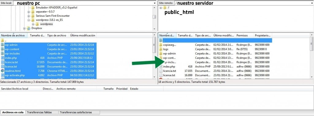 ftp filezilla wordpress de local a servidor