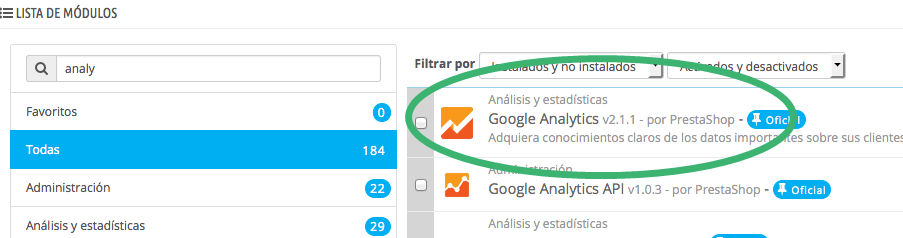 google analytics prestashop integrar modulo