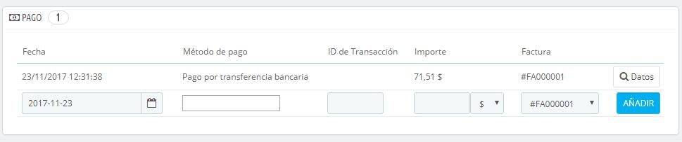 gestionar pedidos prestashop 1.7 pago del pedido