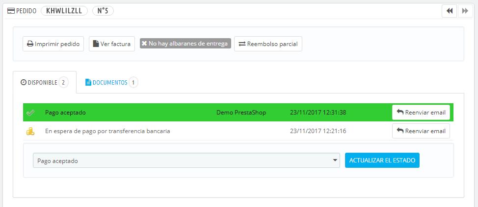 gestionar pedidos prestashop 1.7